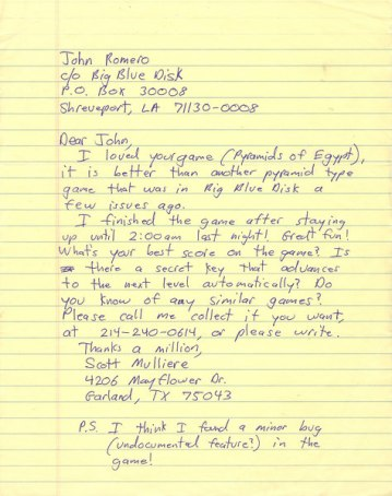 One of the many letters Miller wrote to John Romero in an effort to enter into a business partnership. (Photo credit: John Romero.)