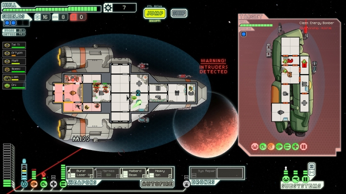 Ma and Davis played around with different configurations before deciding on a static layout for FTL. The player's ship faces the right, while the enemy ship points upward.
