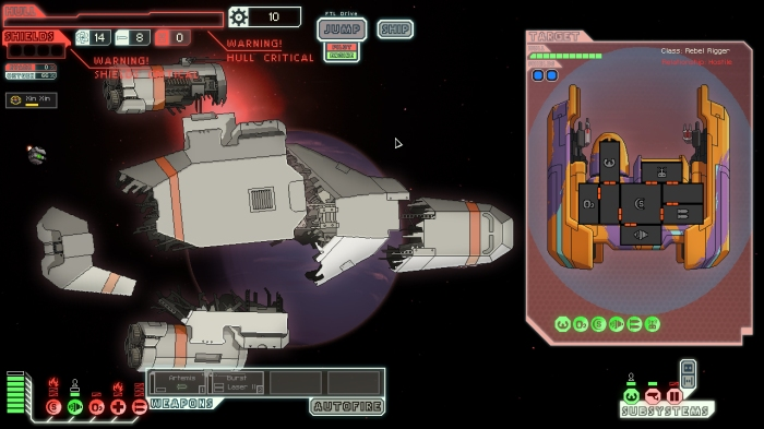The player's ship cracks apart after a hard-fought battle.