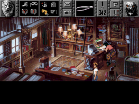 GK: Sins of the Fathers's graphical user interface. Each icon represents an action, or verb. Players click on the action they want to perform, then click on a game element--such as a character or item--to perform that action.