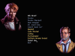 Gabriel (left), Jensen's consummate bad boy with a heart of gold. This screenshot shows the extensive conversation interface players could trigger by clicking on NPCs.