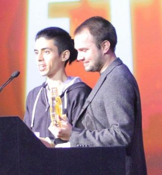 Justin Ma (left) and Matt Davis at the 2013 Independent Games Festival.