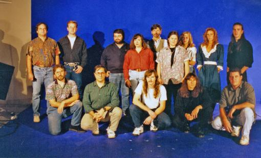 Jensen (top, center) and her development team for Gabriel Knight: Sins of the Fathers.