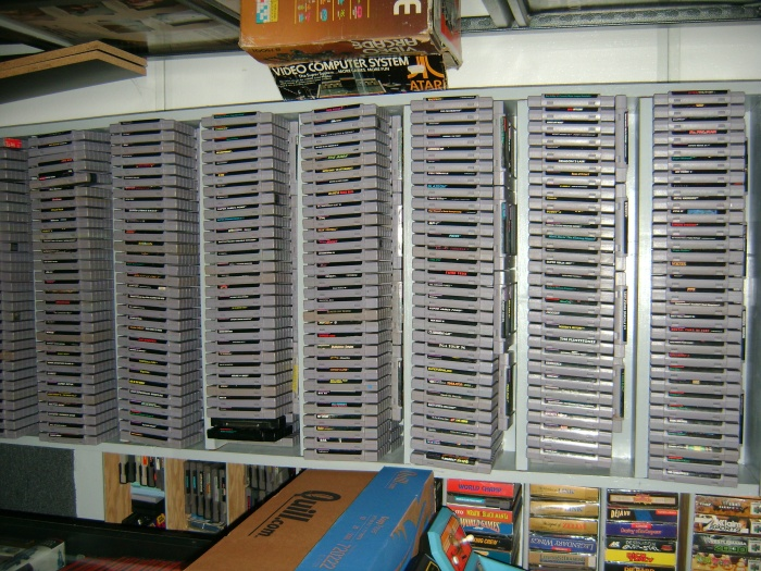 Unboxed Super Nintendo games. SNES games sell for a mint; even denuded cartridges fetch a high price among collectors.