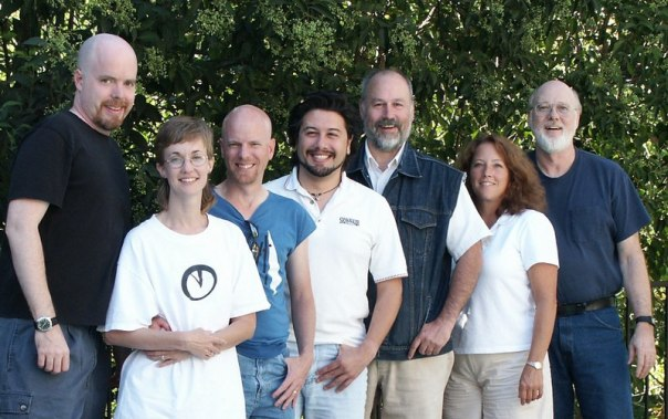 A Softdisk reunion held in 2003. From left to right: Tom Hall, Rhonda Reimers, Lane Roathe, John Romero, Jim Weiler, Carolyn Drain, Fender Tucker. (Photo credit: John Romero.)