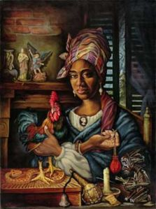An original oil panting of Marie Laveau by Dimitri Fouquet, a New Orleans artist. Laveau was known as the