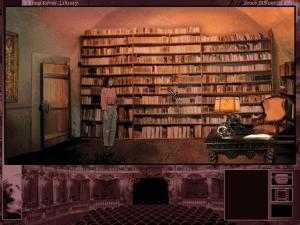 The smart cursor in action. Here, Grace peruses Gabriel's library. Clicking on a bookcase triggers a cinematic showing Grace picking out a book relevant to the mystery that drives the game.