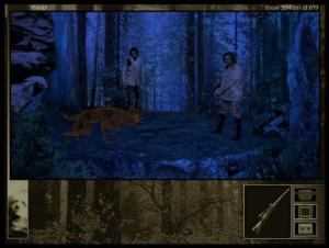 Gabriel, holding a gun, and von Glower confront a werewolf in Gabriel Knight 2.