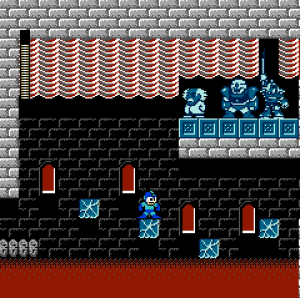 Mega Man Ultra, a ROM hack of Mega Man 2 by infidelity, reskins its original game and stirs in assets from other games. Here, Mega Man explores Dr. Wily's temple, which uses a temple backdrop from Zelda II: The Adventure of Link.