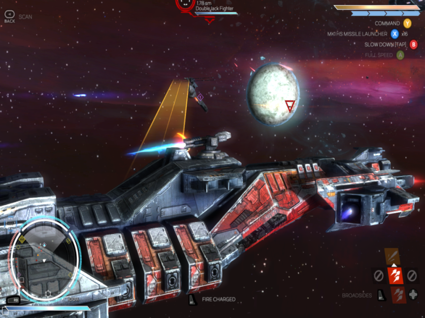 Broadside combat. Maneuver the ship so it's parallel with your opponent, line up the aiming reticule, and fire. All necessary controls are listed at the screen.
