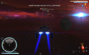 Rebel Galaxy automatically brings players out of warp speed when they draw near bodies that could damage their ship.