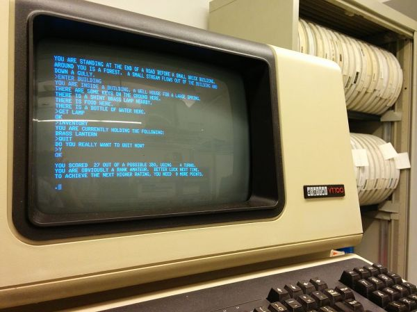 Colossal Cave Adventure, running on a PDP mainframe.